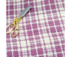 Chanel 100% Lã Xadrez Branco e Rosa Velho