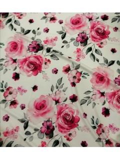Crepe Compacto Com Elastano Rosas