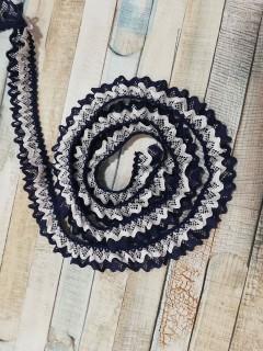 Fita de Folhinhos - Azul Marinho e Branca