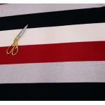 Malha Interlock 60% Algodão, 40% Polyester Riscas Cinza, Preto, Vermelho, Rosa Bebé