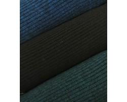 Malha Canelada Algodão, Polyester Efeito Tricot Azul Petróleo