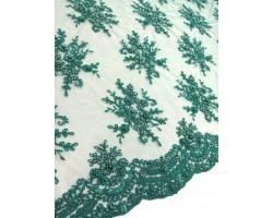 Renda Com Pedraria Verde Esmeralda