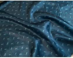 Seda Azul Petróleo Estampado Peixes