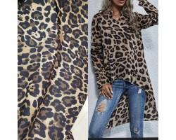 Seda 100% Poliéster Estampado Leopardo